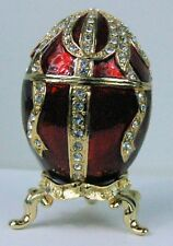 Russian Faberge Red Egg Replica with gold lines and gems E18-05