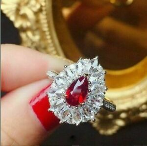 2Ct Pear Cut Red Ruby & Diamond Halo Women Engagement Ring 14K White Gold Finish