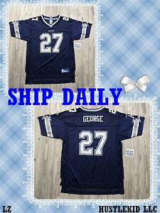 Reebok NFL Dallas Cowboys Eddie George #27 Boy XLARGE XL Youth Football Jersey