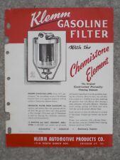 Klemm Automotive Products Co. Klemm Gasoline Filter flyer 1945