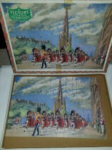 Vintage 1940s Victory Plywood Jig-saw Puzzle Scottish Royal Army Band In...