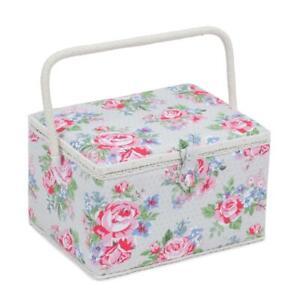 HobbyGift Large Sewing Basket Rose Design Grey Pink Floral