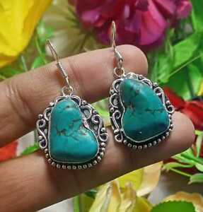 Turquoise Gemstone Earring 925 Sterling Silver Plated Jewellery E184