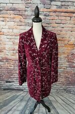 J. Peterman Women Burgundy Embroidered Floral VELVET Cotton Trench Coat Jacket 8