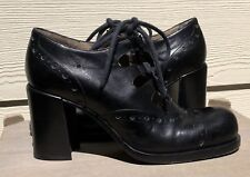 PATRICK COX Vintage Black Leather Lace-up Ankle Heels Boots Size 36
