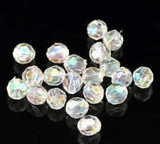200 Round Faceted Acrylic AB Crystal Beads 6mm Wine Glass Charms Bracelets (31j)