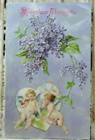 Valentine Vintage Embossed Postcard Posted 1910 Cherubs Heart Flowers