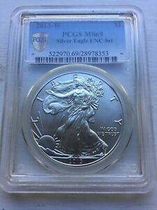 2013 W UNC SET American Silver Eagle Burnished Pcgs Ms69 Sp Secure+ Toning $1