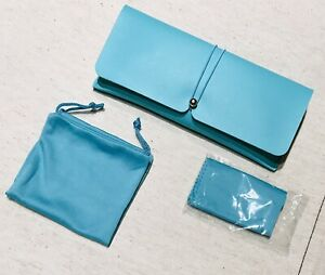 Custom Sunglasses Eyeglasses Faux Leather Blue Sky Case With Pouch And Cloth