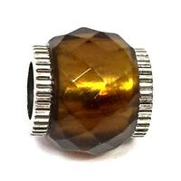 Authentic Brighton Faceted Glass Bead, J9242M, Silver, Brown Plated, New