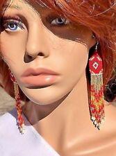 Native Style Handmade beaded Red White Gold long Chandelier Hook Earrings E54/30