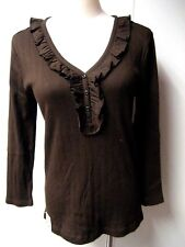 New AMERICAN LIVING Women's Brown Ruched V neck Top - M