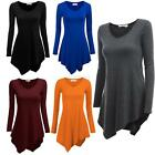 Women Handkerchief Hem Line Long Sleeve Lightweight Knitting Tunic T-shirts Tops