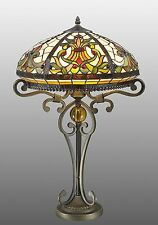 "TIFFANY STYLE REAL STAINED HANDCRAFTED GLASS TABLE LAMP 16"" WIDE SHADE"