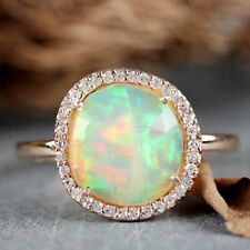 14k Yellow Gold Halo Diamond Opal Stone Prong Setting Ring in Engagement Jewelry