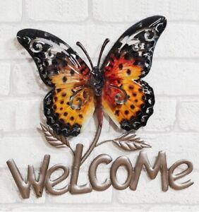 Welcome Butterfly Wall Art Metal Outdoor Indoor Garden Patio Wall Ornament Decor