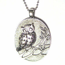 "The Wise Owl Oval Medallion Silver Plated BIG Pendant 18"" Necklace"