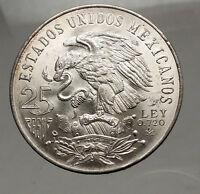 1968 Mexico XIX Olympic Games Aztec Ball Player BIG 25 Pesos Silver Coin i57153