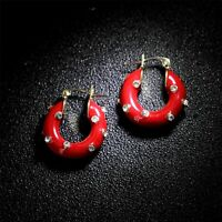 Earrings Small Creole Golden Metal Cobblestone Crystal Enamel Red Gold Plated M5