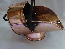 Victorian Solid Copper affondiamo Secchio Carbone idoneo strumento di fuoco con manico in ghisa