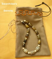 LARP NECKLACE HAND-CRAFTED LEATHER, TIGER'S EYE, COW BONE & GOAT HORN SWSW