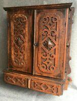 Antique german black forest furniture liquor cellar 19th century woodwork