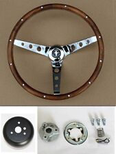 "New! 1970-1973 Mustang Real Wood Grip Steering Wheel Grant 15"" Chrome Spokes"
