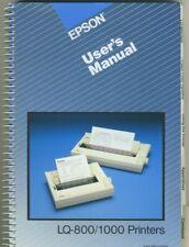 EPSON LQ - 800 / 1000 PRINTER USER'S MANUAL