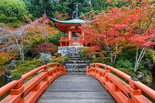 SUPERBE Zen Japonais Jardin Paysage Toile #363 Japon Automne Jardin Pont