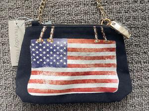 Thursday Friday American Flag Handbag Purse Crossbody, Black, Gold Chain Strap
