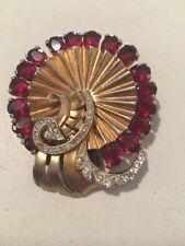 Vintage Brooch Pin Retro Art Deco Design Rubies Diamonds Gold