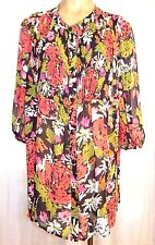 NEW Woman Within M Medium blouse 3/4 sleeve sheer button front multi-color