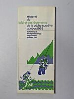 Vintage 1968 Summary of the Sport Fishing Regulations Quebec Folded Brochure