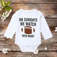US Cotton Newborn Infant Baby Girl Boy Football  Romper Jumpsuit Sunsuit Clothes