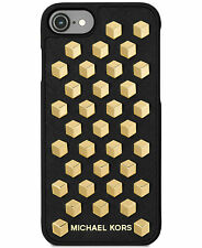 Michael Kors iPhone 7 Gold Studs Black Leather Snap On Case