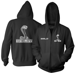 Carroll Shelby Official Licensed Cobra Black Zip Hoodie Jacket - Small - 7XL