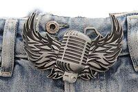 Men Women Silver Belt Metal Buckle Biker Music Microphone Flaming Wings Rocker