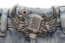 Men Silver Metal Buckle Biker Fashion Big Music Microphone Flaming Wings Rocker