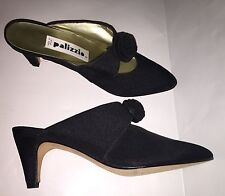 Vtg Palizzio Black fabric Shoes Pointed Toe slip-on Heels Size 7.5
