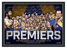 WEST COAST EAGLES 2018 AFL PREMIERS SIGNED PRINT FRAMED OFFICIAL L/E MEMORABILIA
