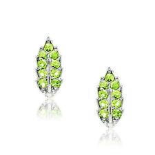 Women's Stylish 14k White Gold August Birthstone Peridot Leaf Leverback Earrings