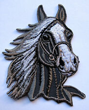 RACING GRAY HORSE HEAD Embroidered Iron on Patch Free Postage