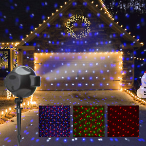 PEIDUO LED Party Projector Plug Powered with RGBW Spots Snow Fall, Multi Functio