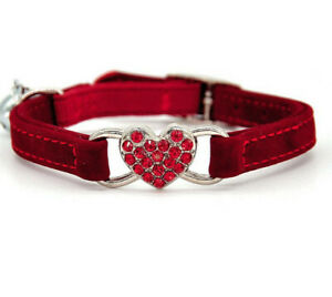 MY GIFT TREE Elastic Adjustable Velvet Cat Collar -Heart Crystal Charm with Bell