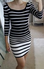 bebe Sexy Black White Off Shoulder Wide Striped Bodycon Sweater Bandage Dress S