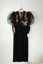 DRIES VAN NOTEN Kleid silk evening pleat long sleeve dress size 38