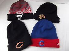 lot 4 Chicago sport team knit winter beanie hat cap bulls bears cubs blackhawks