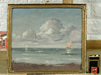 Unreadable Signed Guy? Oil Painting Antique Impressionist Navy Sea Ships Sea