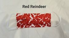 Handmade christmas red reindeer adult face mask with filter pocket nose wire
