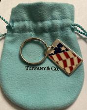 Tiffany & Co Silver Blue White Enamel Flag Key Ring Key Chain Keychain